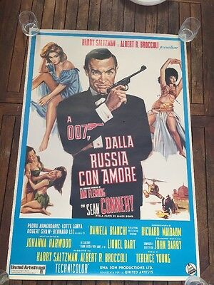 "James Bond From Russia With Love Italian Poster 39"" X 27"" One Sheet."