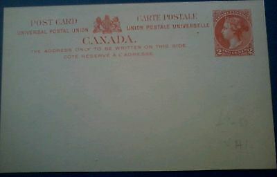 Postal Stationery Canada  post card 1896 Queen Victoria 2 cents m mint /unused