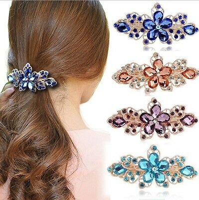 Fashion Crystal Rhinestone Flower Hair Barrette Clip Hairpin Women Girl Gift