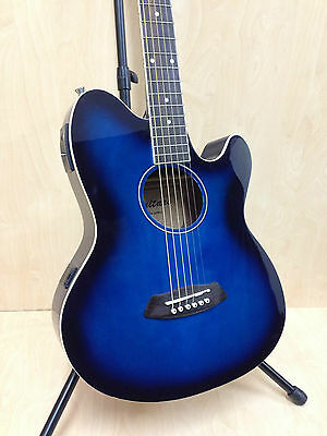 Blue Sunburst Double-Cutaway Acoustic/Electric Guitar w/Built-in EQ,Tuner + Bag