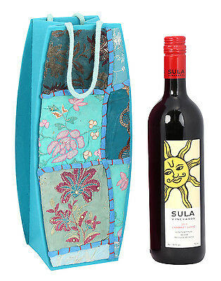 Indian Handmade Patch Work Paper Handicraft Floral Wine Bottle Holder