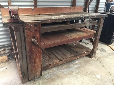Old wooden bench with vice