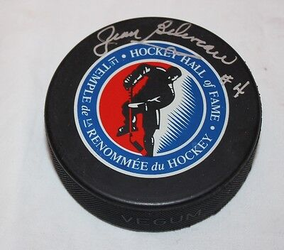 Jean Beliveau #4 Montreal Canadiens Hockey Hall of Fame Autographed Puck