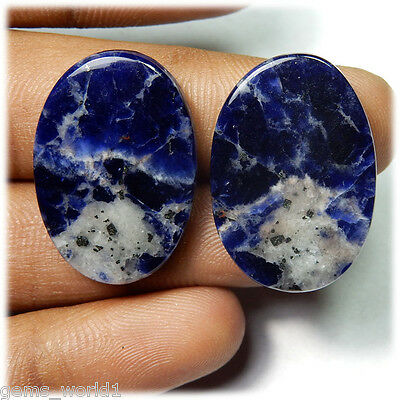 38.50 Cts NATURAL BEST QUALITY SODALITE PAIR OVAL SHAPE CABUCHON GEMSTONE SP-12