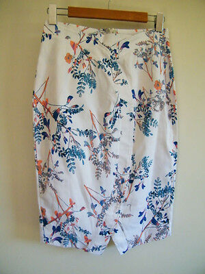 """New with tags - """"Jimmy Yoo"""" pink & blue floral print pencil skirt size 12"""