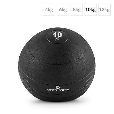 Capital Sports Groundcracker 10Kg Slamball Fitness Strength Trainer Black Rubber