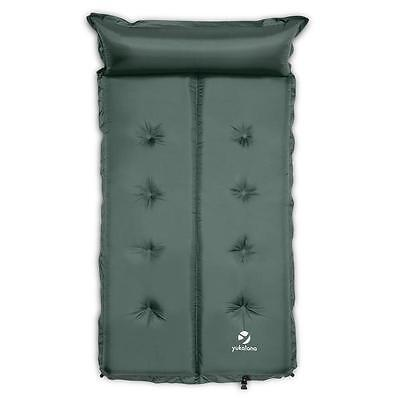 Sleeping Double Mattress Airbed 3Cm Pillow Hiking Treking Inflatable Green