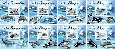 Z08 Imperforated BURdelux06 BURUNDI 2012 Dolphins 8 x s/s MNH