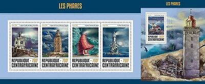 Z08 IMPERFORATED CA16614ab CENTRAL AFRICA 2016 Lighthouses MNH Set