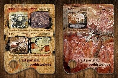 Z08 IMPERFORATED CA16714ab CENTRAL AFRICA 2016 Prehistoric cave art MNH Set