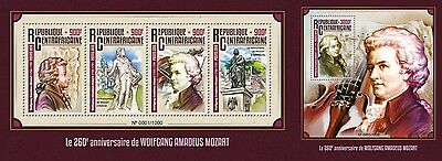 Z08 Imperforated CA16105ab CENTRAL AFRICA 2016 Wolfgang Amadeus Mozart MNH Set