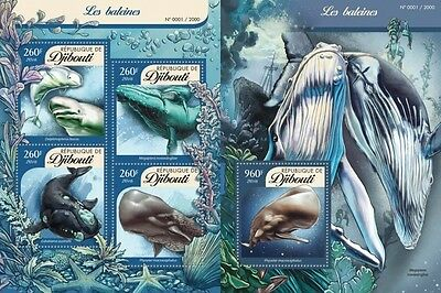Z08 DJB16106ab DJIBOUTI 2016 Whales Imperforated Set