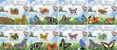 Z08 Imperforated BURdelux14 BURUNDI 2012 Butterflies 8 x s/s MNH