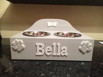 Handmade Wooden Personalised Medium Double Raised Dog/cat Bowl With Bowls