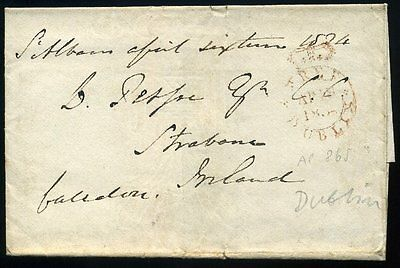 1834 wrapper St Albans to Ireland Dublin FREE FRANK Mark
