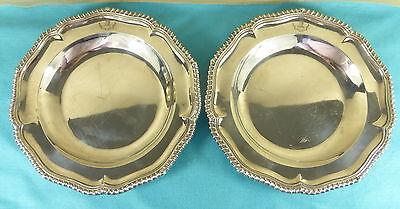 Pair William IV Sterling Silver Dinner Plates Crests Gadrooned Waterhouse 1835