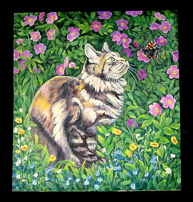 Antique Large Russian Original Oil Painting CAT AND BUTTERFLY, Funny Kitty