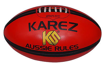 Karez Hand Stitch Soft PVC 2 Ply Red Sport Aussie Rules Rugby Ball,4 Panel