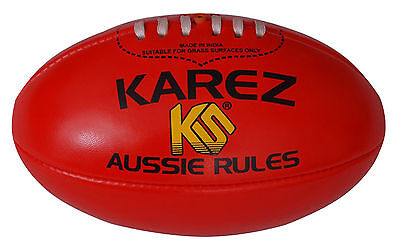 Karez Hand Stitch Red Soft PVC 2 Ply Aussie Rules Rugby Ball,4 Panel