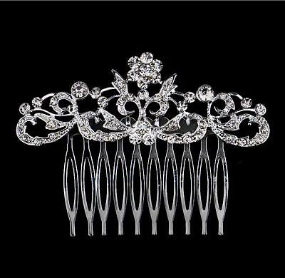 Handmade Beautiful Bridal Wedding Hair Grip Slide Comb Crystal Bead Diamonte