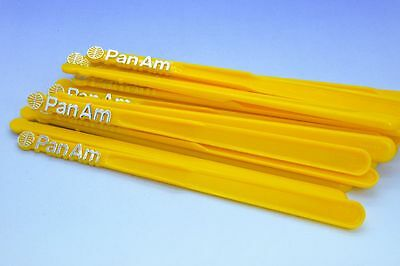 Lot Of 20 Vintage Pan Am Swizzle Sticks Drink Stirrers Yellow Nos