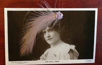 Novelty feather postcard. Glamour. Miss Millie Lindon