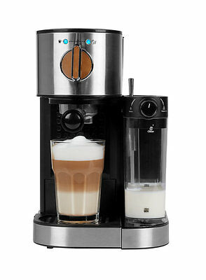 MEDION® Espresso coffee machine maker with milk frother 1.2L Water Silver