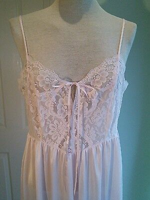 NIGHT DRESS FULL LENGTH VINTAGE 80s SLIP PALE PINK WITH LACE BOW DETAIL 14 / 16