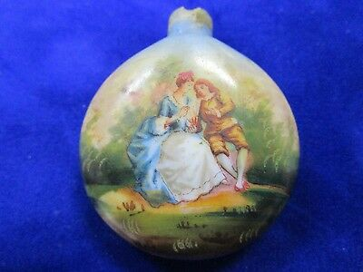 Vintage Hand Painted, Small Ceramic Perfume / Snuff Bottle