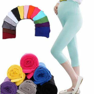 Pregnant Women 7 Pant Cotton Solid Elastic Comfortable Maternity Leggings Capris