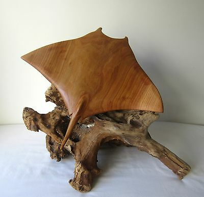 Wood carving of Manta Ray - Wood sculpture on driftwood / Stingray Statue /