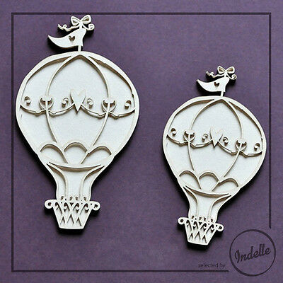 Hot Air Balloon Chipboard Shapes Scrapbooking Card Making Embellishments 2 Pack