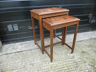 Part Nest of 2 vintage wood hand carved Chinese Occasional tables
