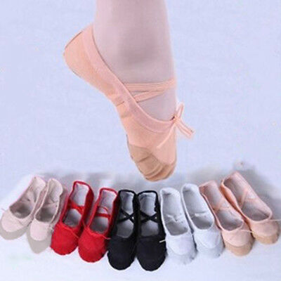 Child Adult Canvas Ballet Dance Shoes Slippers Pointe Dance Gymnastics Reliable