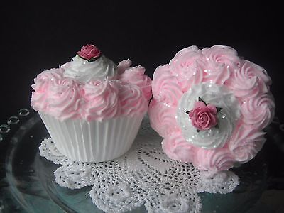 SHABBY COTTAGE CHIC Fake Cupcakes - Set of Two - Medium Pink w/Rose