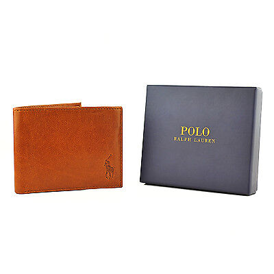 Polo Ralph Lauren Textured Leather Brown Tan Wallet Removable ID Holder