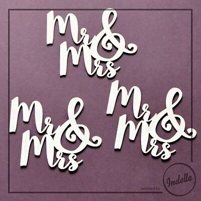 Mr & Mrs Chipboard Ornaments Cardmaking Papercraft Scrapbooking Shapes 3 Pack