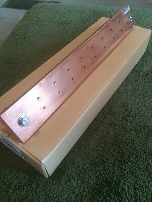 "Copper Ground Bar 3/8""x3""x20""  16 Hole  With Insulators"