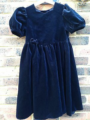 Vintage 90s Blue Velvet Mother & Child Laura Ashley Party Traditional Dress 6y