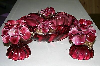 Rare Venetian murano cranberry glass bowl and candle holders