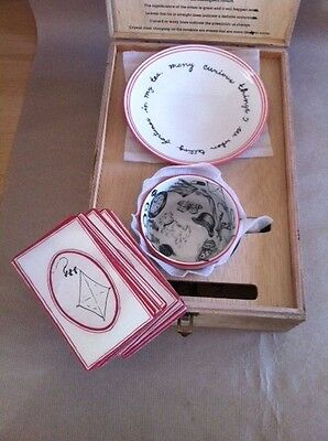 Molly Hatch Fortune Telling Teacup with wooden case box: Collector