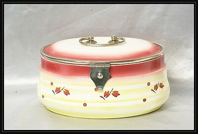 Antique Ceramic Oval Pink And Yellow Secessionist Biscuit Box