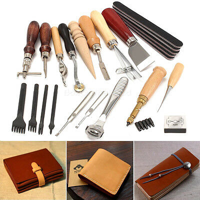 18 Leather Craft Leatherworking Tools Kit Leather Sewing Punch Carving Groover