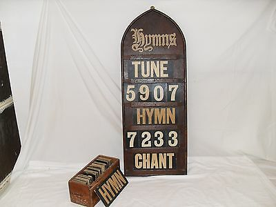 Antique Oak Church Hymn Board with Box of Numbers