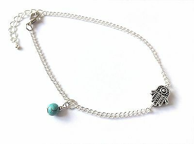 Hamsa Fatima Hand & Turquoise Bead Silver Curb Chain Anklet / Ankle Bracelet