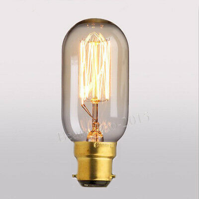 Retro Filament Antique Edison Bulb B22 Bayonet Cap Industrial Light Lamp T45 40W