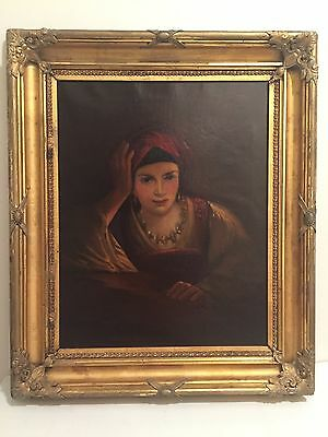 Portrait Of A Beautiful Gipsy Girl Oil On Canvas Giltwood Frame Antique  19th C.