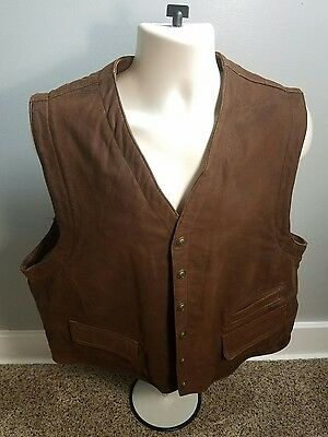 Wilsons Leather Brown Vest Mens Size Men's XL Front Button Snap Bike Motorcycle