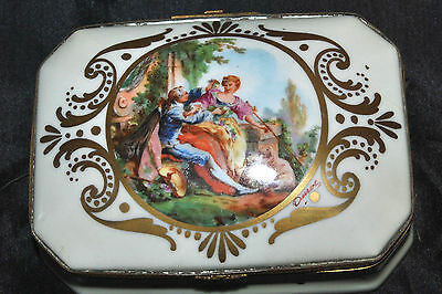 Vintage HJB? Hand Painted France Porcelain Vanity Trinket Jewelry Box Signed