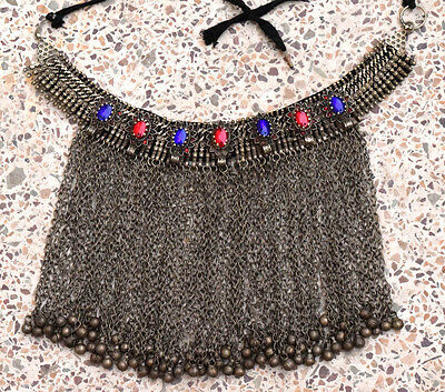 Vintage Afghan Kuchi Choker Necklace Tribal Bib Belly Dancer Gypsy Boho Jewelry